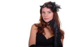 Retrato da mulher nova com máscara Imagem de Stock Royalty Free
