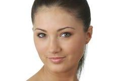 Retrato da mulher nova com pele da saúde da face Foto de Stock