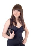 Retrato da mulher nova com uma bolsa fotos de stock