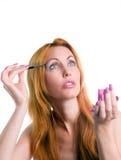 Retrato da mulher nova com uma composição na cor-de-rosa Imagem de Stock Royalty Free