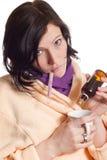 Retrato da mulher nova doente Imagens de Stock Royalty Free