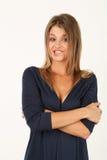 Retrato da mulher nova no vestido azul Imagens de Stock