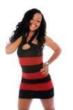 Retrato da mulher nova no vestido do vermelho e do preto Imagens de Stock Royalty Free