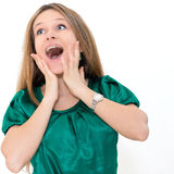 Retrato da mulher nova surpreendida Foto de Stock