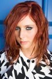 Retrato da mulher principal vermelha Fotos de Stock