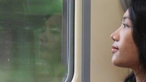 Retrato da mulher que senta um trem movente filme