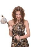 Retrato da mulher selvagem nova com martelo de pedra Fotografia de Stock