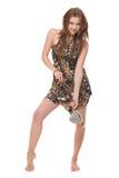 Retrato da mulher selvagem nova com martelo de pedra Fotografia de Stock Royalty Free