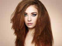 Retrato da mulher sensual bonita com penteado elegante imagem de stock
