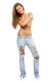 Retrato da mulher sensual nova nas calças de brim fotos de stock