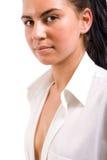 Retrato da mulher 'sexy' na camisa branca imagens de stock