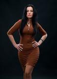 Retrato da mulher 'sexy' no vestido marrom fotos de stock royalty free