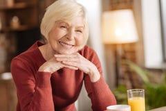 Retrato da mulher superior agradável na cozinha fotografia de stock