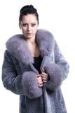 Retrato da mulher bonita no casaco de pele azulado do inverno Imagem de Stock Royalty Free