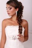 Retrato da noiva elegante bonita com cabelo escuro Imagem de Stock Royalty Free