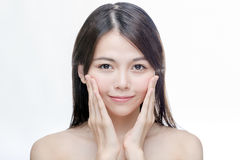 Retrato da pele chinesa do espaço livre da mulher Fotografia de Stock Royalty Free