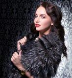 Retrato da pele de raposa de prata vestindo da mulher retro moreno elegante sobre o fundo do vintage Imagens de Stock