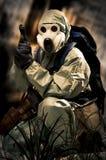 Retrato da pessoa na máscara de gás Imagens de Stock Royalty Free