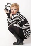 Retrato da rapariga com auscultadores Imagens de Stock Royalty Free
