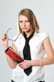 Retrato da rapariga com um cabelo justo Foto de Stock Royalty Free