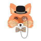 Retrato da raposa no chapéu de jogador ilustração stock