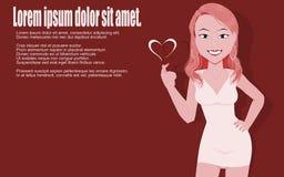 Retrato da senhora cor-de-rosa no fundo do carmim Foto de Stock