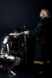 Retrato da senhora e do cavaleiro fotografia de stock