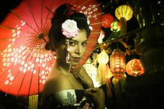 Retrato da senhora japonesa nova foto de stock royalty free