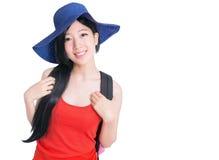 Retrato da viagem da jovem mulher Fotografia de Stock