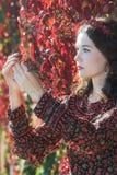 Retrato da vista lateral da menina do outono na grinalda do outono com grupo da videira virgem da uva Fotos de Stock Royalty Free