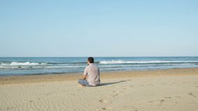 Retrato da vista traseira de um homem que olha o mar sentar-se na areia da praia video estoque