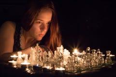 Retrato da xadrez da luz de vela Imagem de Stock Royalty Free
