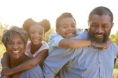 Retrato das avós com os netos que apreciam a caminhada no parque junto imagens de stock royalty free