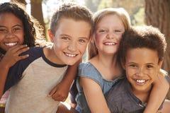 Retrato das crianças com os amigos em caminhar a aventura nas madeiras imagens de stock royalty free