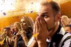 Retrato das emoções dos fãs de futebol do estádio foto de stock royalty free