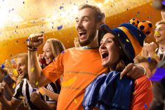 Retrato das emoções dos fãs de futebol do estádio fotografia de stock