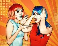 Retrato das jovens mulheres no estilo cômico da composição do pop art Fêmeas chocadas em perucas vermelhas e azuis ilustração do vetor