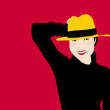 Retrato das mulheres no vestido preto e no chapéu amarelo com sorriso da felicidade   Ilustração modelo do vetor das mulheres Fotos de Stock