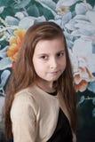 Retrato de 8 años de la muchacha en estudio Foto de archivo