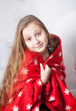 Retrato de 10 años de la Navidad de la muchacha Fotos de archivo