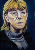 Retrato de acrílico imaginativo de la pintura de una mujer rubio-cabelluda Foto de archivo