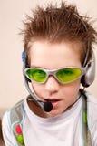 Retrato de adolescente con los auriculares Fotos de archivo libres de regalías