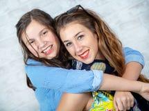 Retrato de adorável encantador bonito bonito com a menina longa do cabelo e seu amigo mais idoso imagem de stock