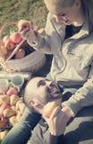 Retrato de adultos con las manzanas y de sandwitches en naturaleza Imagen de archivo libre de regalías