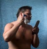Retrato de afeitar desnudo del hombre Foto de archivo