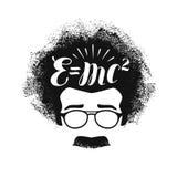 Retrato de Albert Einstein Educación, ciencia, concepto de la escuela Ejemplo del vector de las letras Fotografía de archivo