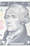 Retrato de Alexander Hamilton em um macro de dez notas de dólar, 10 usd, un Fotografia de Stock Royalty Free