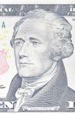 Retrato de Alexander Hamilton en la macro de diez billetes de dólar, 10 usd, la O.N.U Fotografía de archivo libre de regalías