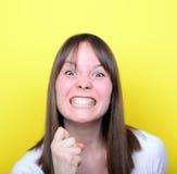 Retrato de amenazar de la muchacha Imagen de archivo libre de regalías
