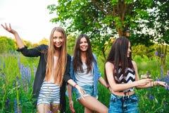 Retrato de amigos sonrientes felices el fin de semana al aire libre Tres mejores amigos felices jovenes hermosos que se divierten Foto de archivo